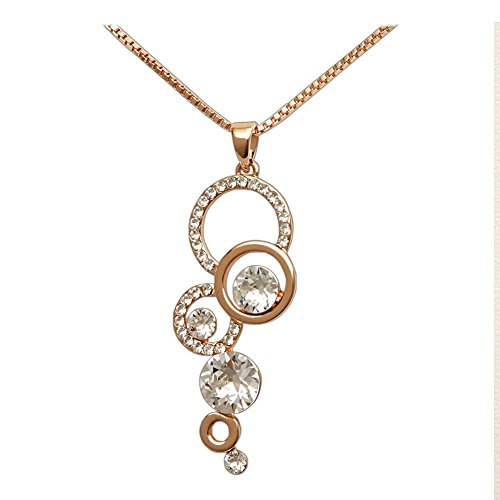 Homemade Butterfly Costumes Toddler (Women's Beautiful Rose Gold Plated Necklace with 6 Round Crystal Settings, 18