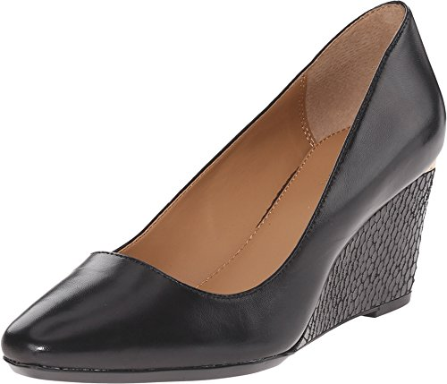 Calvin Klein Women's Pippa Wedge Pump, Black Leather, 7 M US (Calvin Leather Pumps)