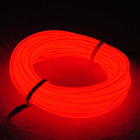 Amasawa Neon Light El Wire with Battery Pack - Water Resistant Glowing Wires Luminous Line Light for Parties and Halloween Decoration (red 3m)