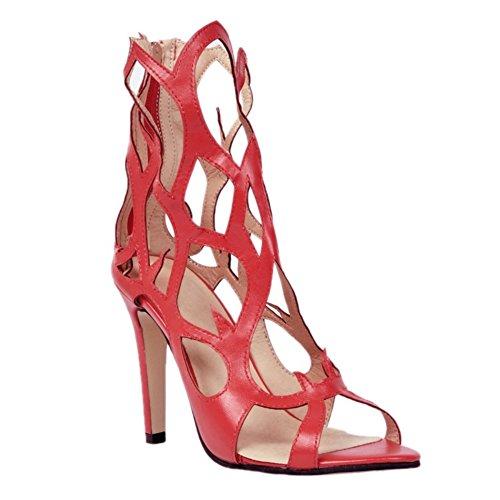Handmade Toe À 10cm Sexy Reds Sandales Talons Hauts Zipper Femmes Kolnoo D'été Chaussures Open Fashion Brown wtvqXAx