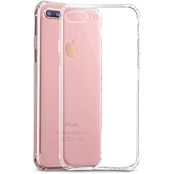 iPhone 8 Plus 7 Plus Silicone Clear Phone Case, Non-Skid Transparent Shockproof iPhone 7Plus 8Plus Phone Protector Case Back Cover, Perfect Fit Ultra Slim Thin with Conner Bumper