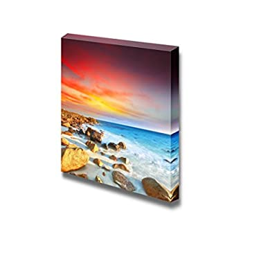 Canvas Prints Wall Art - Sunrise Over The Sea. Stone on The Foreground - 16