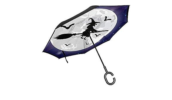 Merle House Siluetas de Brujas y murciélagos Sombrilla Invertida ...