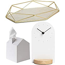 Umbra White Bedroom Accessories Set - Bundle of 3 Items: Prisma Jewelry Tray (Brass), Sometime Desk Clock, and Casa Tissue Box Cover