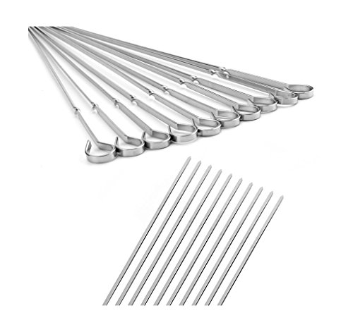 Simpleulife Flat Metal Shish Kabob Skewers For Grilling, 18 Inch Long Stainless Steel BBQ Barbecue Skewers, 10 Pieces a Pack