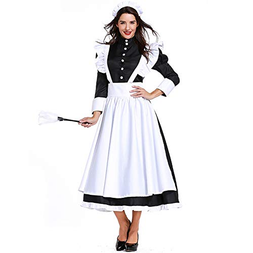 ROLECOS Victorian Maid Dress Womens Traditional Pilgrim Dress with Apron L -