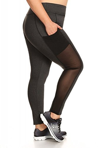 Womens Plus Size Yoga Leggings Pants Solid Sports Bottoms with Mesh Panels