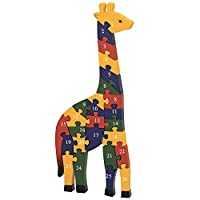 Bits and Pieces - Wooden Alphabet Giraffe Puzzle - Learn ABCs and 123s - Colorful Large 3/4 Inch Thick, Non-Toxic Paint