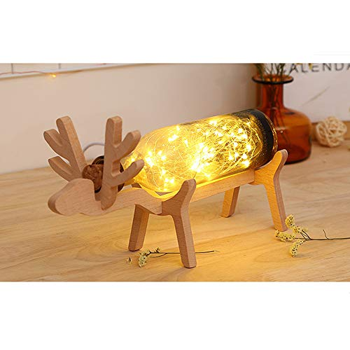 Christmas Elk LED Bottle Night Lights Illusion Glass Lights with Wood Base,Gbell Switch Table Lamp Glass Lights for Kids Boys Girls Adults Room Decorations,for Christmas Party Hotel Ornaments