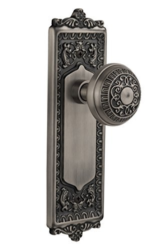 Nostalgic Warehouse BN10-EADEAD-AP Egg and Dart Plate with Egg and Dart Knob Passage, Antique Pewter by Nostalgic Warehouse