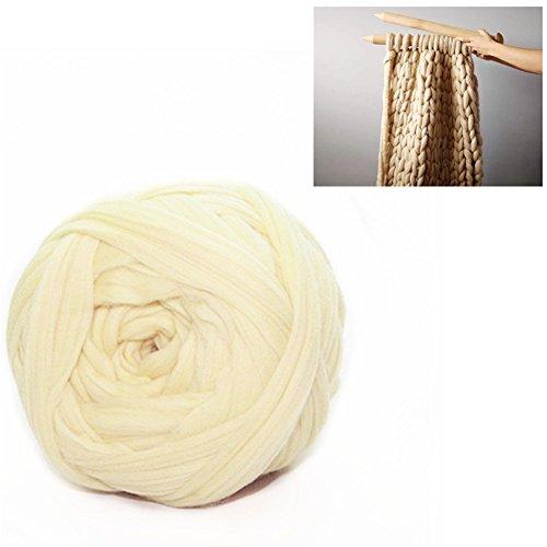 Giant Wool Yarn Chunky Arm Knitting Super Soft Wool Yarn Bulky Wool Roving (250g/0.55 lbs, Apricot) ()