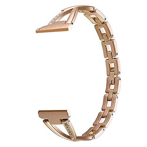 Orcbee  _Luxury Alloy Crystal Stainless Steel Wristband Strap Band for Fitbit Versa (Rose Gold)