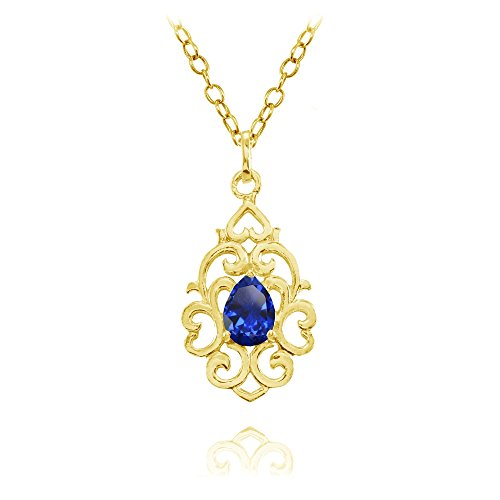 Yellow Gold Flashed Sterling Silver Created Blue Sapphire Filigree Heart Teardrop Necklace ()