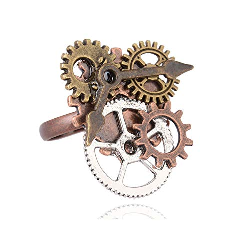 YUGHGH Steampunk Clock Open Rings Punk Goth Steam Gears Adjustable Rings for Men Women Cool Jewelry Gifts (1PC, Gear)