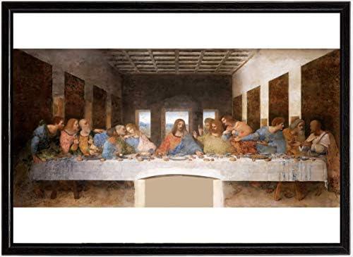 ポスターレオナルド・ダ・ヴィンチ『最後の晩餐』木製黒フレーム付 A3サイズ※壁掛け【返金保証有 上質】 [インテリア 壁紙用] 絵画 アート 壁紙ポスター