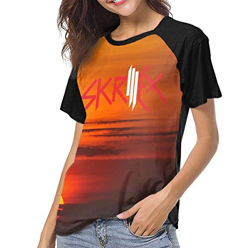 45ba0e18269 Womens Skrillex Music Band Baseball Raglan T ShirtsOutdoor Tops S Gift Black