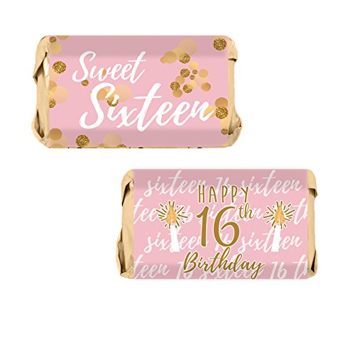 Sweet Sixteen 16th Birthday Party Mini Candy Bar Wrapper Stickers, 54 Stickers (Pink and Gold)