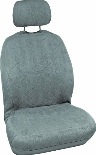 Grey Bucket Seat Covers - Bell Automotive 22-1-56204-9 Grey Quilted Suede Low-Back Bucket Seat Cover