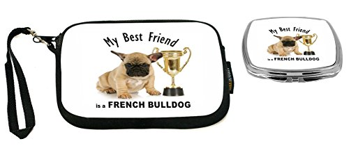 Rikki Knight My Best Friend French Bulldog Brown with Trophy Design Neoprene Clutch Wristlet with Matching Square Compact Mirror