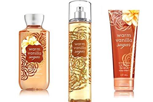 Bath & Body Works Warm Vanilla Sugar Fine Fragrance Mist, Body Cream and shower gel - Full Size