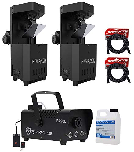 ((2) Chauvet Intimidator Scan 110 Compact Scanner Effect Lights+LED Fogger+Cables)