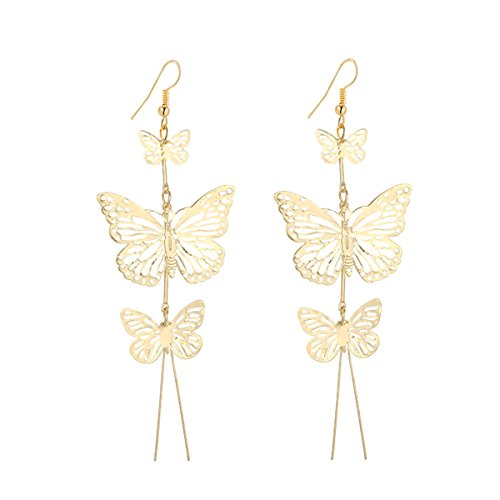 IDB Delicate Filigree Dangle Triple Butterfly Drop Hook Earrings - available in silver and gold tones (Gold tone) - Gold Filigree Circle Earrings