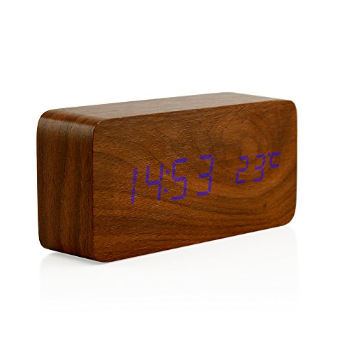 Oct17 Wooden Digital Alarm Clock, Fashion Multi-function LED Alarm Clock with USB Power Supply, Voice Control, Timer, Thermometer - Brown