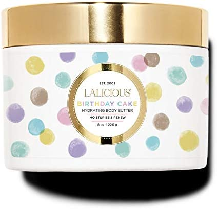 LALICIOUS Birthday Cake Shimmering Body Butter – Hydrating Body Moisturizer with Shea Butter, Cucumber Extract Apricot Oil, No Parabens 8 Ounces