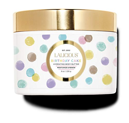 LALICIOUS Birthday Cake Shimmering Body Butter - Hydrating Body Moisturizer with Shea Butter, Cucumber Extract & Apricot Oil, No Parabens (8 - Lalicious Kiss Sugar