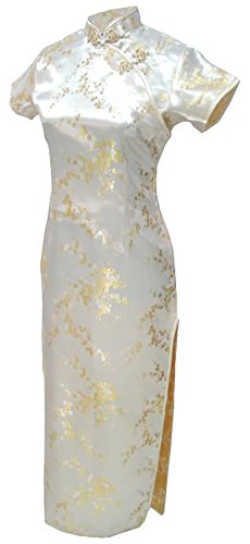 7Fairy Women's Light Yellow Floral Long Chinese Prom Dress Cheongsam Size 18 US