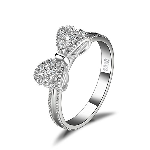 JewelryPalace Cubic Zirconia Anniversary Wedding Ring 925 Sterling Silver Size 7 (Sterling Bow Ring)