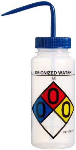 Bel-Art Safety-Labeled 4-Color Deionized Water Wide-Mouth Wash Bottles; 500ml (16oz), Polyethylene w/Blue Polypropylene Cap (Pack of 4) (F11716-0003) ()