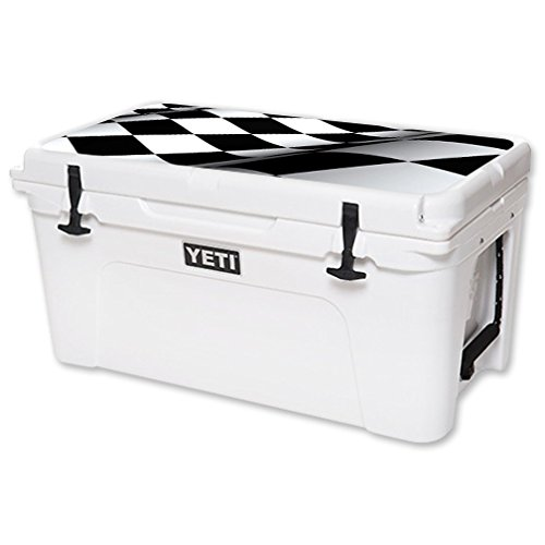 MightySkins Protective Vinyl Skin Decal for YETI Tundra 65 qt Cooler Lid wrap Cover Sticker Skins Checkered Flag