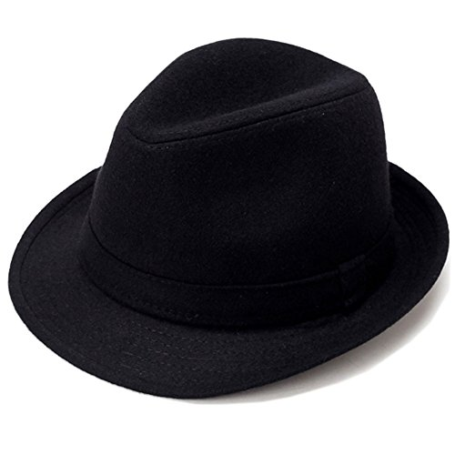 Gangster Fedora Hats For Men (Men's Classic Manhattan Structured Gangster Trilby Fedora Hat with Band)