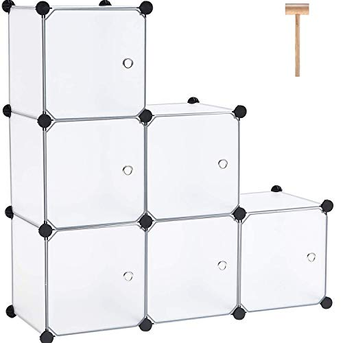 """C&AHOME Cube Storage Organizer, Shelving Units, 6 Cubes Plastic Closet Cabinet, Storage Shelves with Doors Ideal for Bedroom Living Room Office 36.6""""L x 12.4""""W x 36.6""""H Translucent White"""