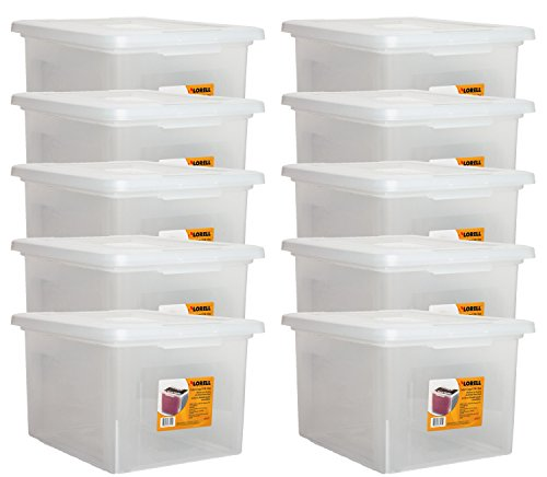 Lorell LLR68925 Letter/Legal Plastic File Box (10 PACK SAVINGS) - Legal Letter