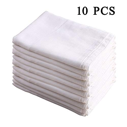 100% Cotton Burp Cloth Prefold Diapers Cover White 10 Count 52X70CM by Busy...
