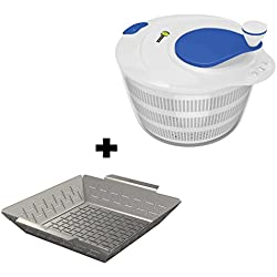 Vegetable Grill Basket + Salad Spinner Large Serving Bowl Set - QUICK DRY DESIGN & DISHWASHER SAFE - BPA Free Plastic Base - No Pump Pull String or Cord Needed, Turn Knob Drys Fruits & Veggies Fast