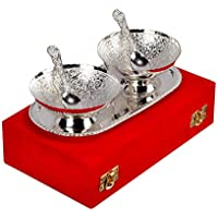 Handicraft Hub India German Silver Bowl Spoon and Tray for Gift Set of 5