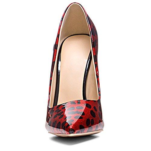Chris-t Donna Colori Misti Scarpe Con I Tacchi A Spillo Scarpe Con Tacco Alto Scarpe Rosso Leopardo