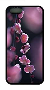 iPhone 5S Customized Unique Pink Blossom Flowers New Fashion TPU Black iPhone 5/5S Cases - Scenery Flowers