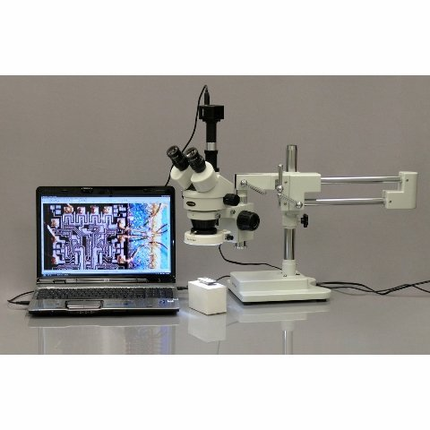 AmScope SM-4T-80S-M Digital Professional Trinocular Stereo Zoom Microscope, WH10x Eyepieces, 7X-45X Magnification, 0.7X-4.5X Zoom Objective, 80-Bulb LED Ring Light, Double-Arm Boom Stand, 90V-265V, Includes 1.3MP Camera with Reduction Lens and Software