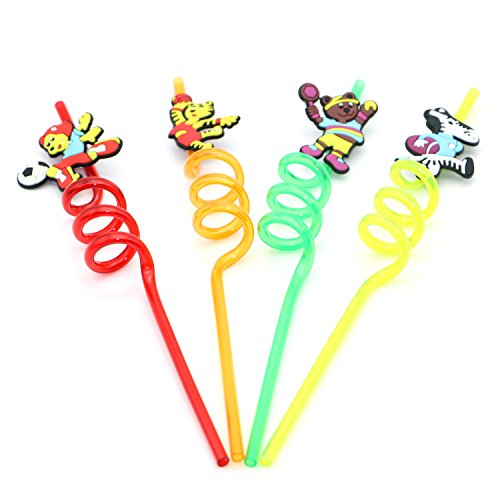 Geeklife 4 pcs Cute Creative Animal Pattern Thick Plastic Drinking Straws,Reusable,Food-grade and Healthy,10.3 Inches