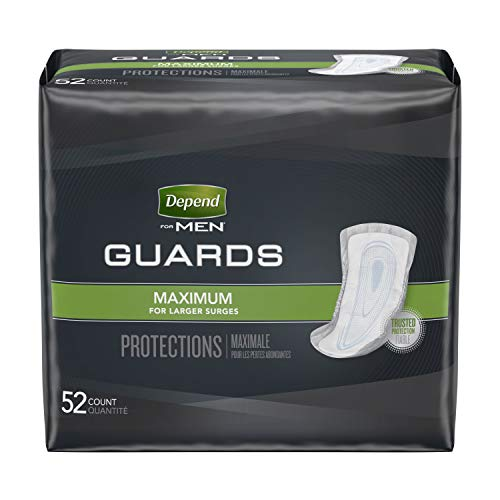 Depend Incontinence Guards for Men, Maximum Absorbency, 52 Count (Packaging May Vary)