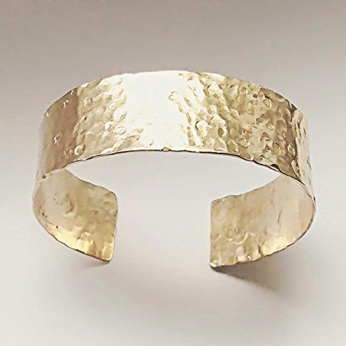 - Gold Brass Wide Hammered Cuff Bracelet. Handmade Unisex Mens Cuff. Brass 21st Anniversary Mothers Day Birthday Gift Jewelry Her Him