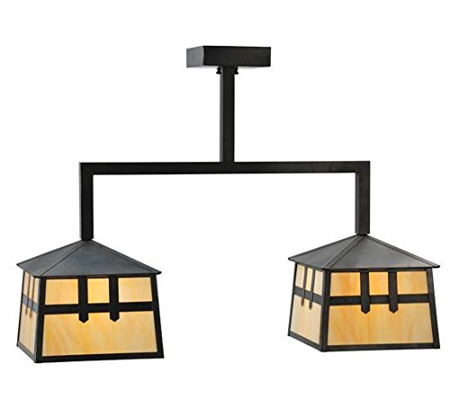 Meyda Tiffany 110940 Stillwater Double Cross Mission 2 Light Island Pendant Light Fixture, 32