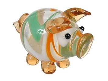 MINI Schwein aus Glas handgefertigte Glasfigur Schönes Geschenk 2 cm hoch