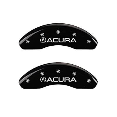 "MGP Caliper Covers 39019SACUBK Black Powder Coat Finish ""Acura/Acura"" Engraved Caliper Cover with Silver Characters, Set of 4: Automotive"