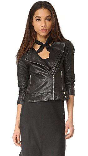 BB Dakota Women's Stafford Leather Moto Jacket, Black, Large