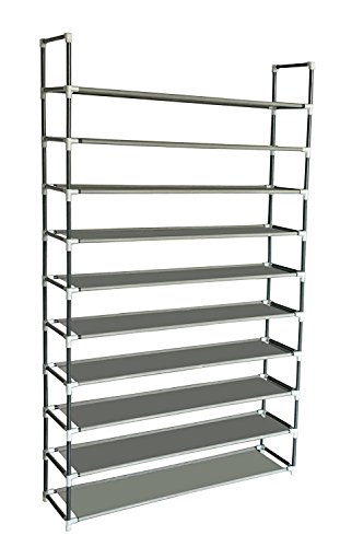Sodynee 50 Pairs 10-Tier Shoe Rack Shoe Organizer Shoe Storage Shoe Shelves Cabinet Stackable - Easy to Assemble - No...